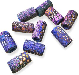 Monika Busch stacks punchy colors on big hole beads on PolymerClayDaily.com