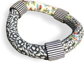 Valérie Bodino-Nazet builds a wonky, fun bangle on PolymerClayDaily.com