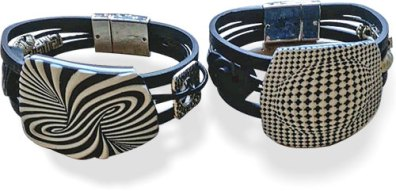 Ingrid Ulrich constructs dramatic polymer bracelets on PolymerClayDaily.com