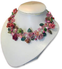 Lombardi's polymer rose garden necklace