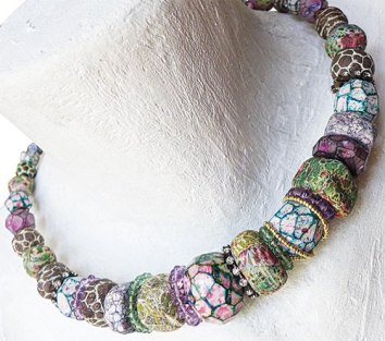 Marina Rios smooths the look with vintage and handmade spacers on PolymerClayDaily.com