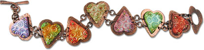 Solly's polymer and copper heart bracelet