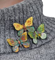 Lela Todua's winter butterflies and dreadlock beads on PolymerClayDaily.com