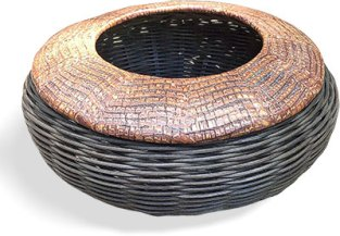 Victoria James embellishes baskets with polymer on PolymerClayDaily.com