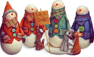 Karen Walker's wrapped snowmen gather for the holidays on PolymerClayDaily