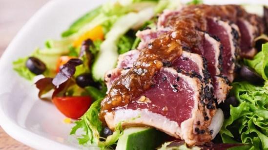 Fresh Ahi Tataki Salad from Pounders