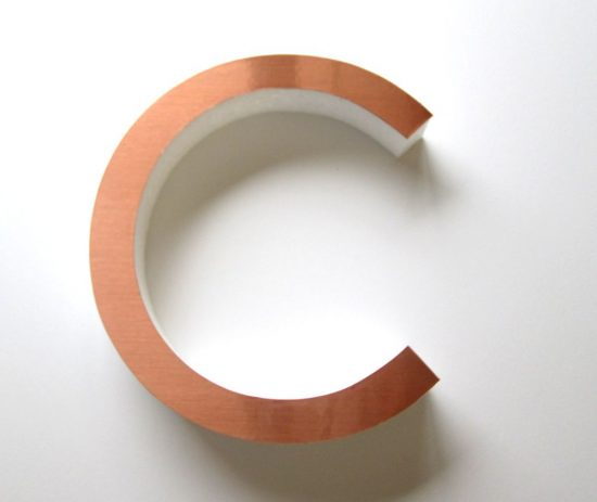 Copper faced Polystyrene letters