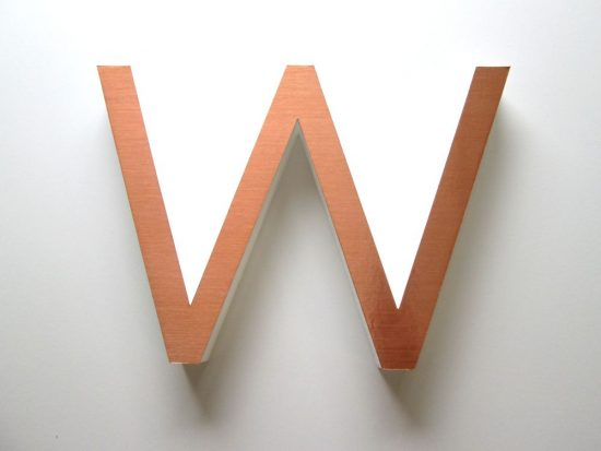 Copper Foil faced Polystyrene Lettering