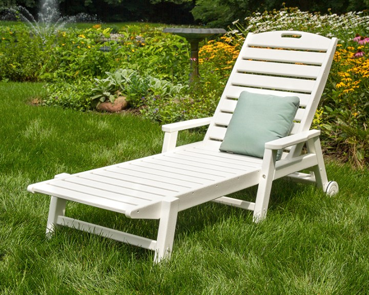 polywood white outdoor chaise lounge in grass
