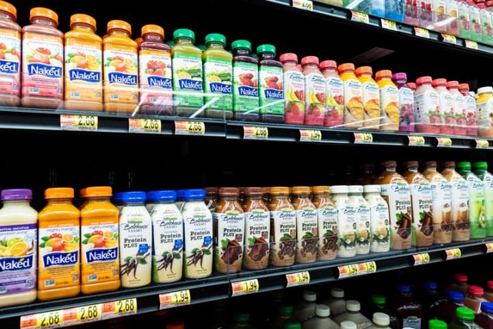 plastic juice bottles in grocery store