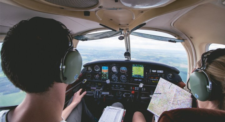 Student pilots learning to fly a plane as a hobby