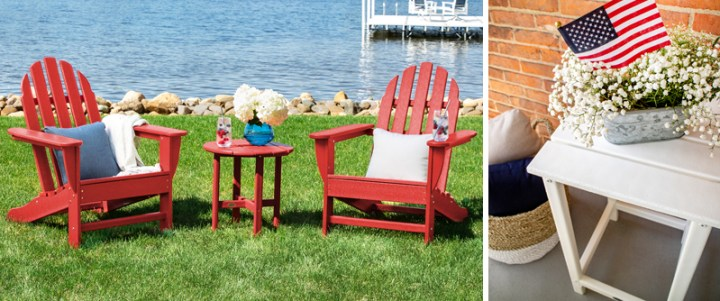 Outdoor Adirondack chairs and side tables in patriotic colors