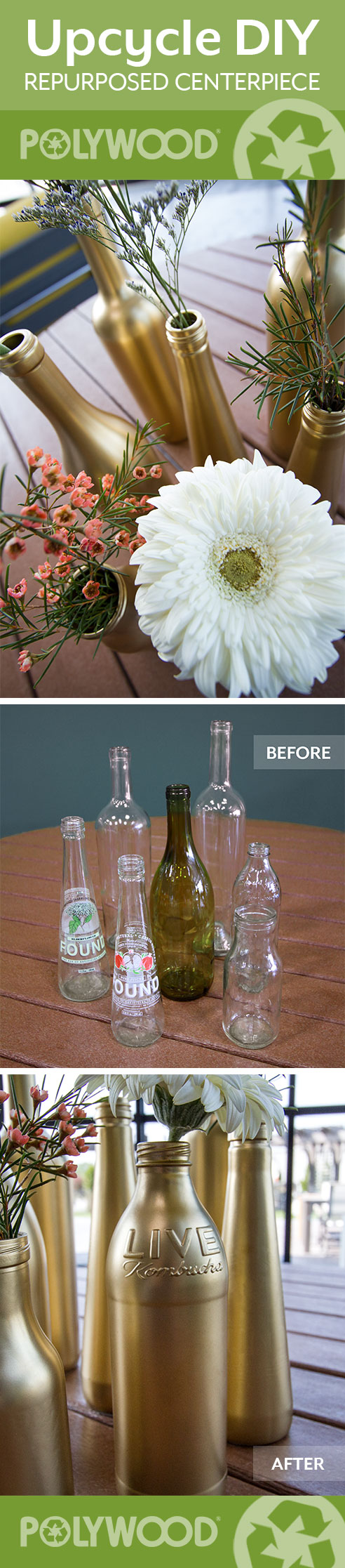 DIY: How-to Turn Recycled Glass Bottles Into A Beautiful Centerpiece, POLYWOOD Blog
