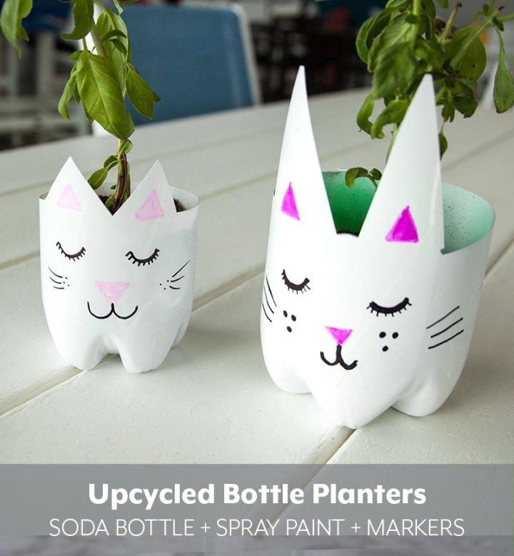 Upcycle-Soda-Bottle-Cat-Planters