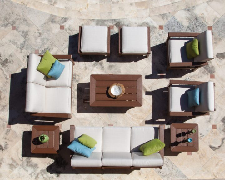 overhead view of outdoor patio seating