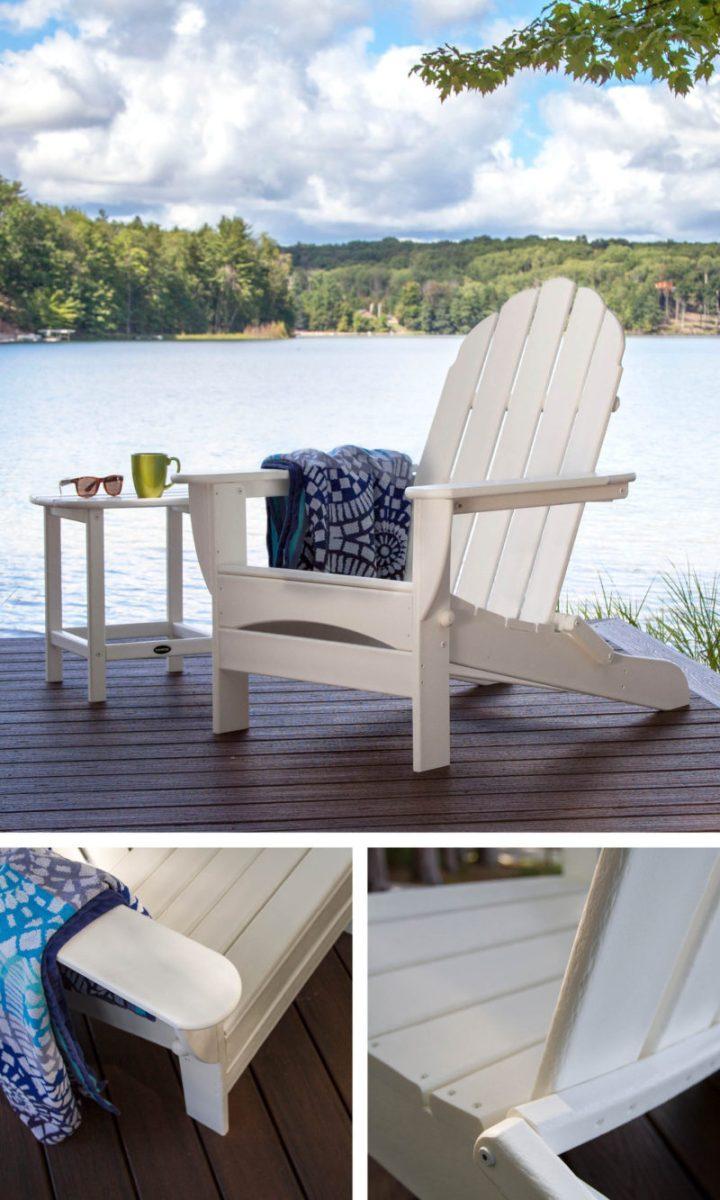 white adirondack chair near lake