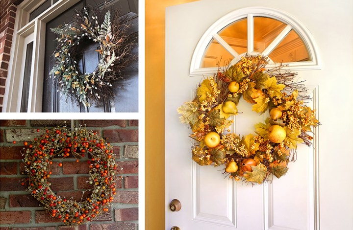 fall wreaths on front doors