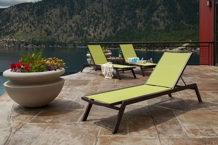 3 polywood outdoor chaise lounges by lake