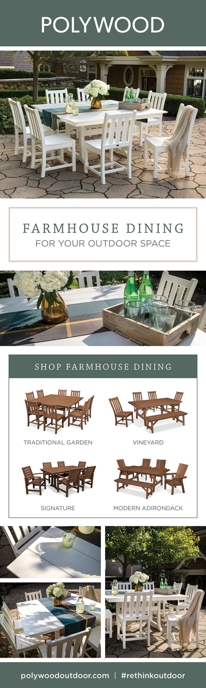 outdoor farmhouse dining table with flowers