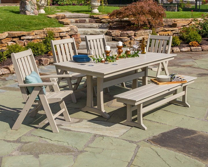 polywood tan outdoor dining set with bench