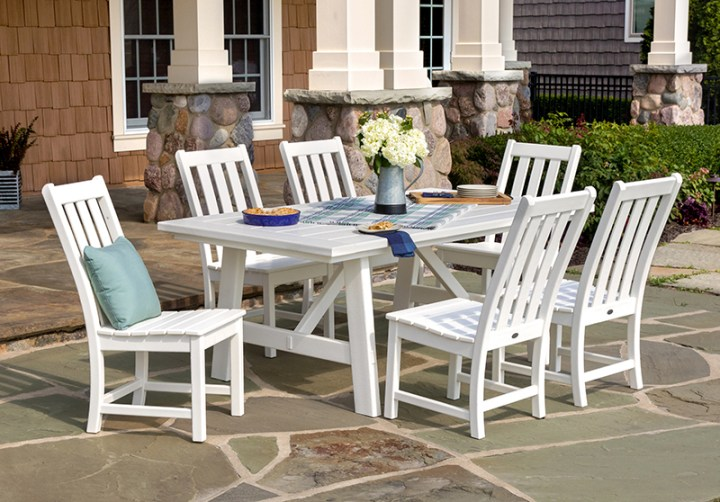 polywood white rustic dining set on back patio
