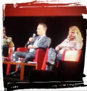 Tom Hanks durante l'incontro con la stampa (foto esclusiva di Pomezianews)