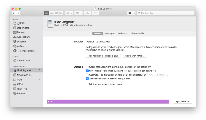 Synchronisation d'un iPod 1G sous macOS 10.15 Catalina.