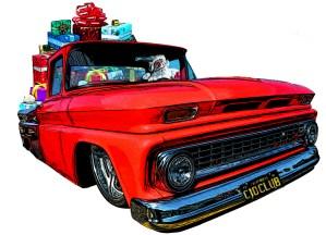 Santa Claus Driving a Chevy C10 Truck