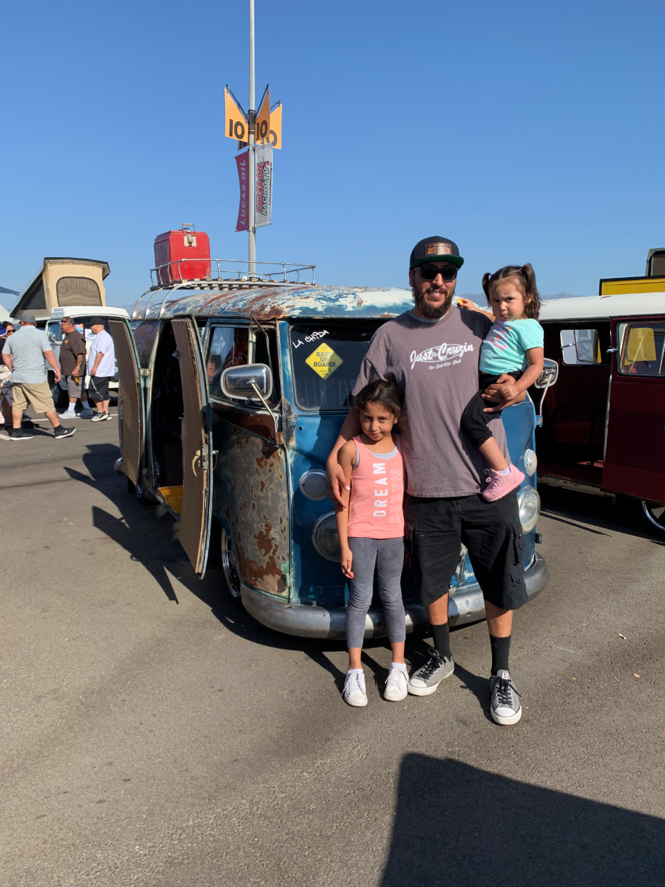 Christian Sanchez with his daughters and 1963 VW Bus