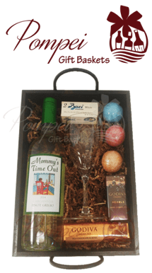 Mommy's Time Out Wine Gift Basket, Pinot Grigio Gift Basket, Mother's Day Gift Baskets, Mother's Day WIne, Birthday Gifts for Moms, Mommys Time Out Wine, MTO Wine