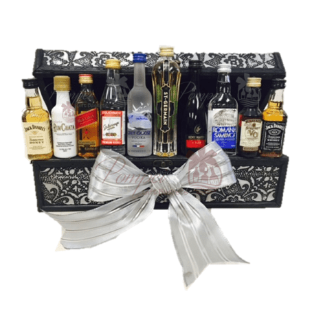 mini bar corporate gift, unique corporate gift nj, mini bar gift basket, 50ml gift basket