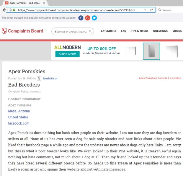 Complaintboard.com Apex Pomskies