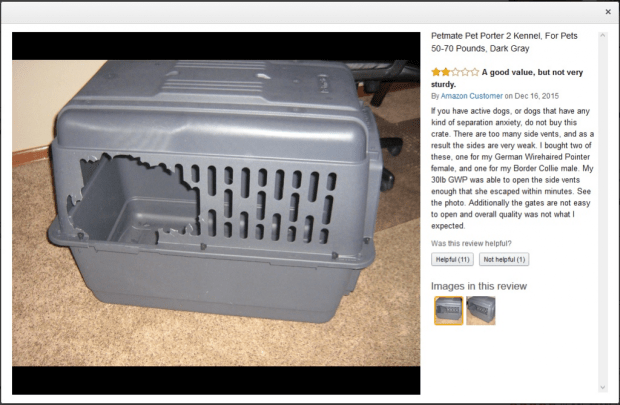Chewed Plastic Petmate Crate from Seperation Anxiety