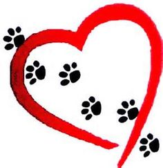 A heart with dog prints through it.