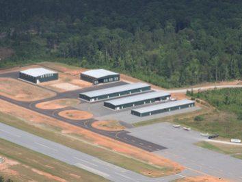 airport runway aerial view of buildings