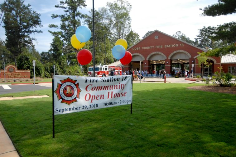 The community celebrates the opening of Fire Station 18.