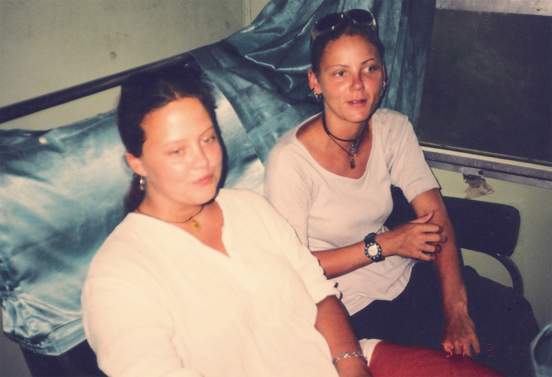 helena and me on a train in indonesia