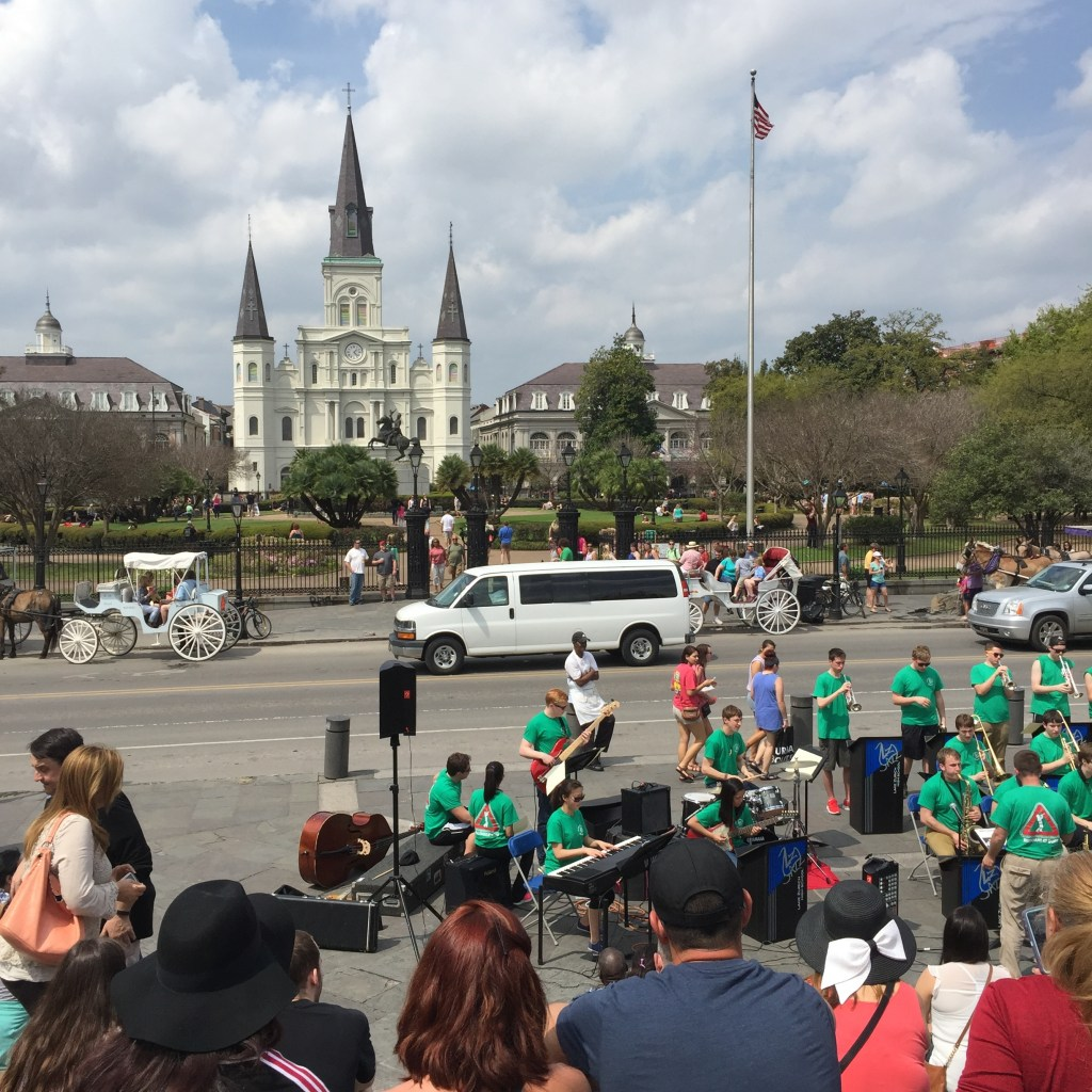 Spring break in New Orleans - high school jazz band playing in Jackson Square