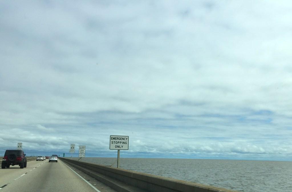 Spring break in New Orleans - 23-mile causeway bridge. No land in sight.
