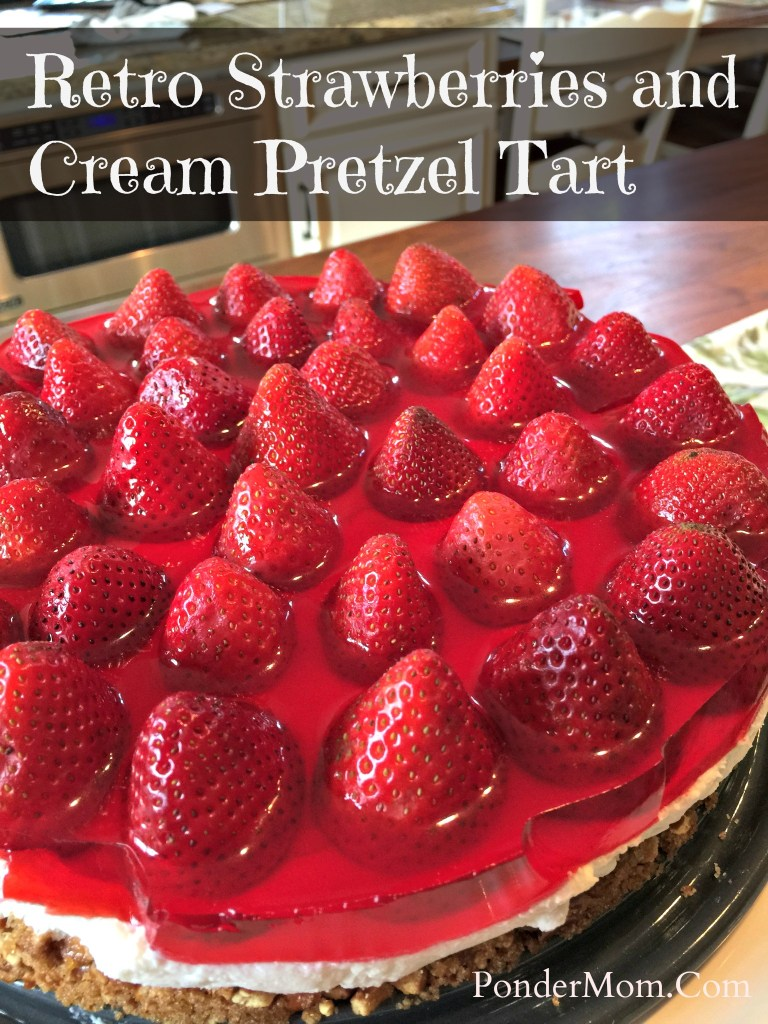 Strawberries and Cream Pretzel Tart