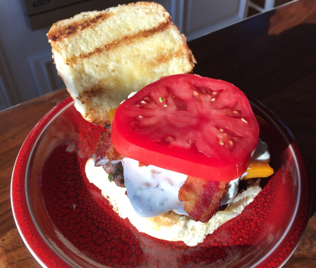 Grilling Season is Here: Jalapeño and bacon cheddar cheeseburgers - adding a tomato to make it seem healthy