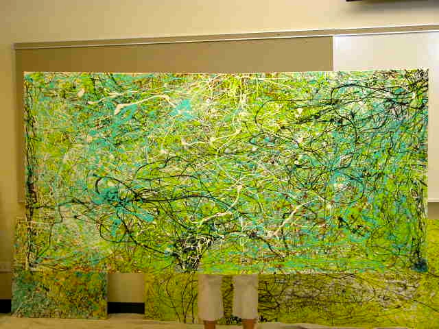 Parents Creatively Teaching Kids About Art: Very large Jackson Pollock canvass completed by 5th graders