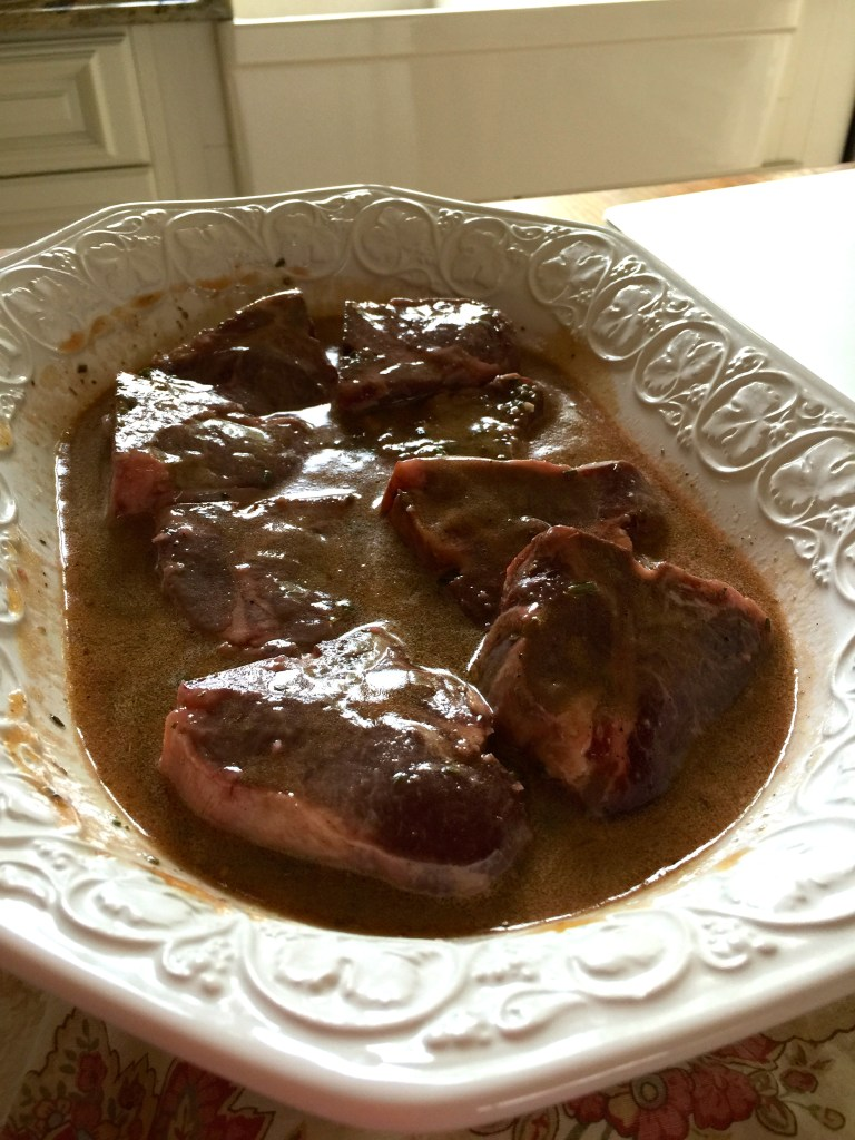 Grilled, marinated lamb chops: marinating in liquid love.