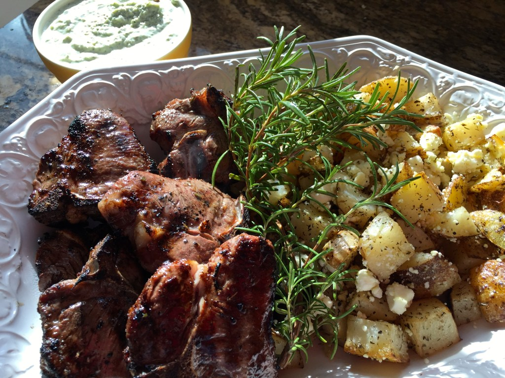 Grilled, marinated lamb chops: And the meal is complete!