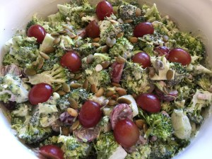 Broccoli, Cucumber and Grape Salad