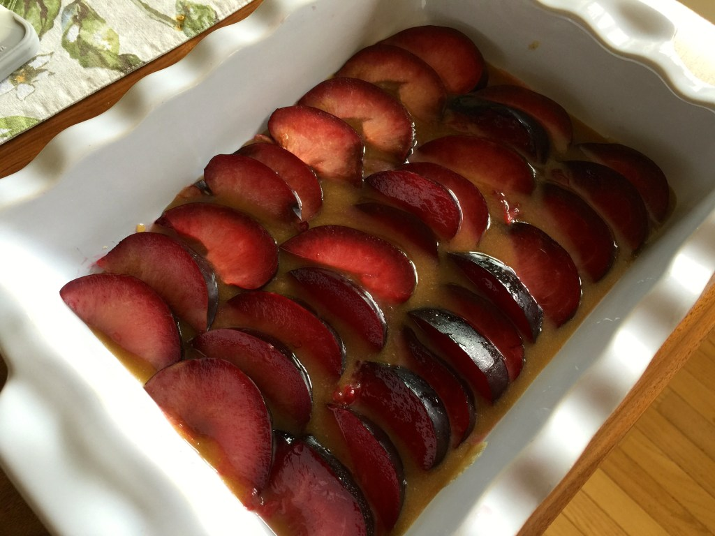 Plum Upside-down Cake: Creating the Base, or, er, top?