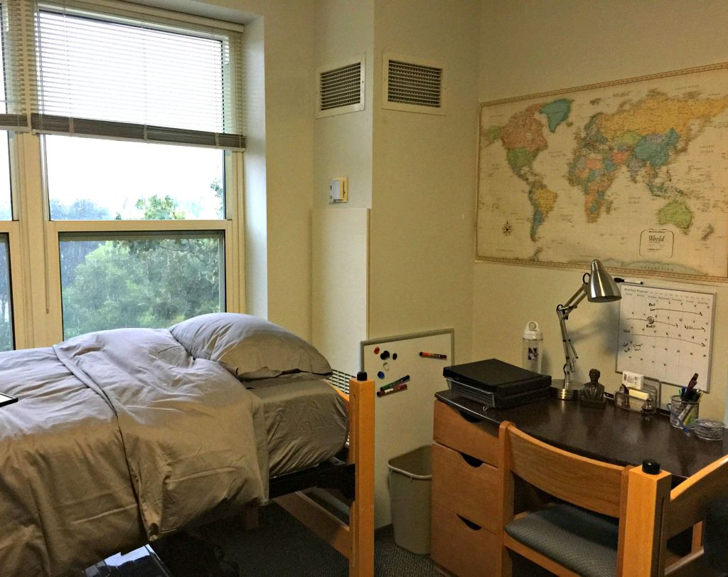 Helicopter Parents and College Confidence: Logan's Northwestern dorm room.