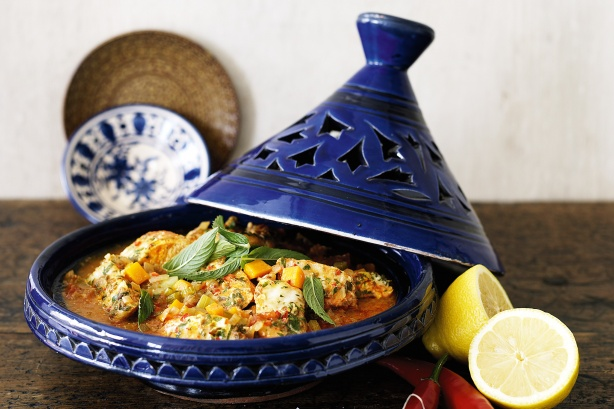 Chicken Tagine with Apricots and Almonds: Fancy-schmancy pot with a holey hat