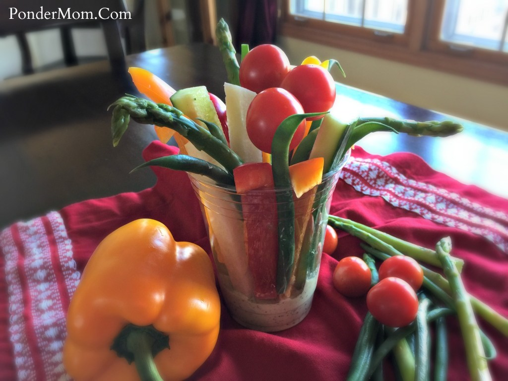 Superbowl treats: a beautiful bouquet of veggies with green goddess dip - so much more satisfying than a scoop of cottage cheese and a boiled egg!