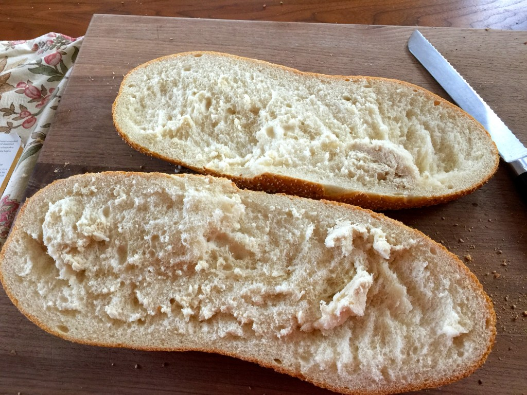 Hearty sausage sandwich: Prepping the bread